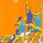 Originalplakat von Otl Aicher für die Sportart Basketball während der olympischen Spiele in München