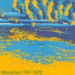 Originalplakat von Otl Aicher zur Sportart Rudern für die Olympiade 1972