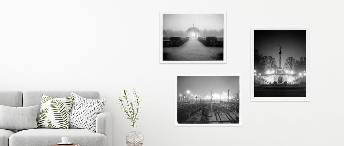 schwarzweiss Fotografien von München im Nebel an der Wand